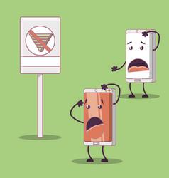 Two smartphones friends comic character vector