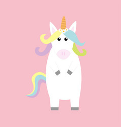 unicorn standing kawaii head face pastel color vector image