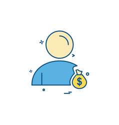 user money bag icon design vector image