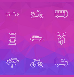 vehicle icons line style set with city car train vector image
