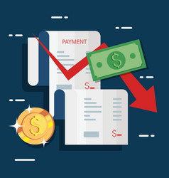Voucher payment and business icons vector