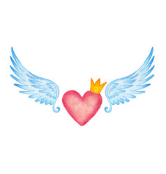 Watercolor of a pink heart in a crown with angel vector