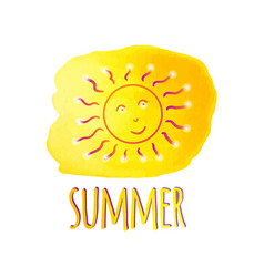 Watercolor sun summer watercolor yellow blot vector