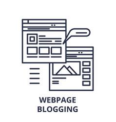 Webpage blogging line icon concept webpage vector