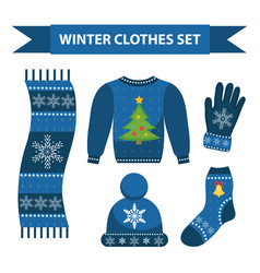 winter warm clothes icon set flat style vector image