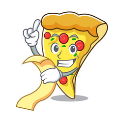 with menu pizza slice mascot cartoon vector image