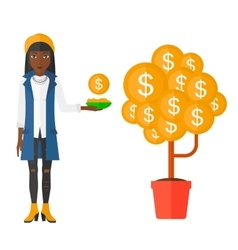 Woman catching dollar coins vector image
