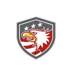 American Bald Eagle Head Flag Shield Retro vector image vector image