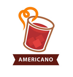 americano cocktail in glass with straw isolated on vector image
