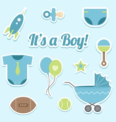 Baby boy shower stickers vector image vector image