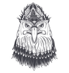 Eagle head with feather comb vector
