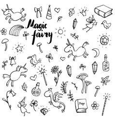 magic doodle set vector image