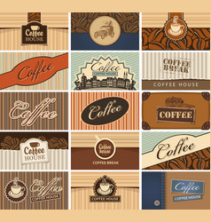 set of business cards on the coffee theme vector image