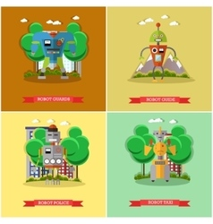 set of robots flat style design vector image vector image
