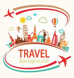 world travel landmarks silhouettes icons set vector image