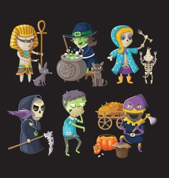 Costumes and haloween characters vector image vector image