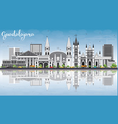 guadalajara skyline with gray buildings blue sky vector image vector image