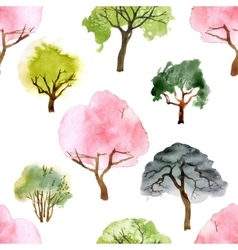 Watercolor trees seamless pattern vector image