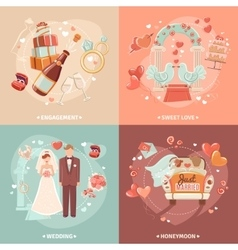 Wedding concept 4 flat icons square vector image