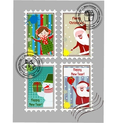 xmas stamps vector image vector image