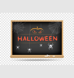 blackboard halloween spider pumpkin vector image