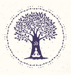 Tree yoga om vector