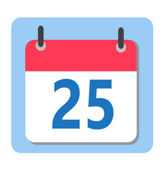 christmas date - 25 december modern calendar icon vector image vector image