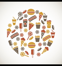 Colorful snack icons vector image vector image