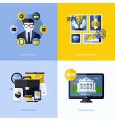 Flat design with banking symbols and icons vector image