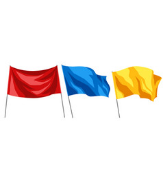 set of multicolored flags on white background vector image vector image