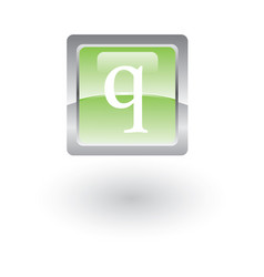square glossy icon letter q vector image