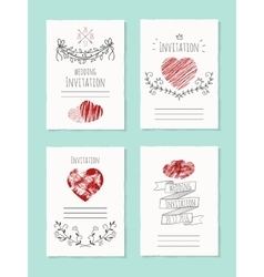 wedding card with drawn heart vector image