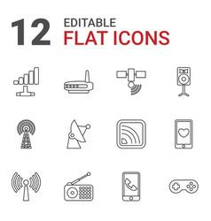 12 wireless icons vector image