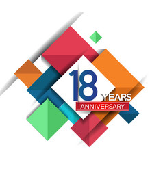 18 years anniversary design colorful square style vector