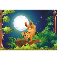 A forest with a playful bear above the rocks vector