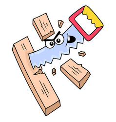 Arrogant faced saw cutting wood doodle icon image vector