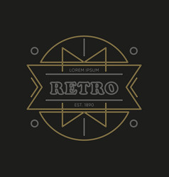 art deco badge classic linear template vector image