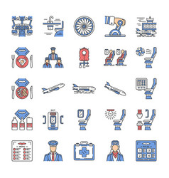 aviation services color icons set vector image