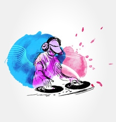 Background with DJs vector