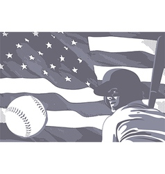 BASEBALL FLAG USA BW vector image
