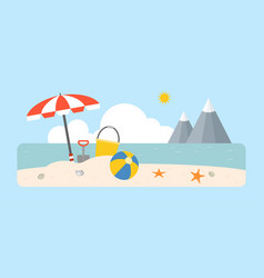 beach scene with shovel and bucket vector image