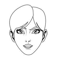 Beauty face woman short hair comic style vector
