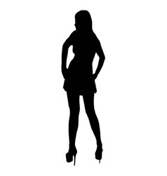 black silhouette of woman vector image