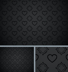 Black Vintage Poker Hearts Distressed Background vector image
