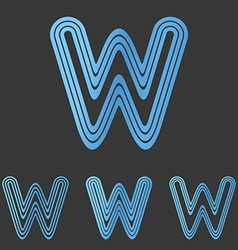 Blue line w logo design set vector