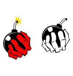 Bomb in people hand vector