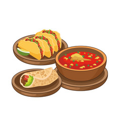 Burrito and often mexican food vector