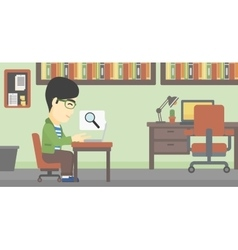 Businessman working on his laptop vector image
