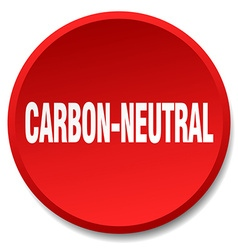 Carbon-neutral red round flat isolated push button vector