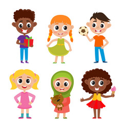 Cartoon european muslim and african kids isolated vector